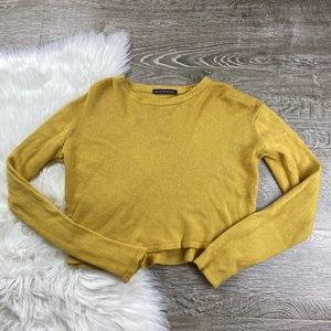 Brandy Melville Yellow Knitted Cropped Sweater